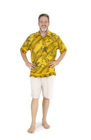 Shirt Casual Golden T Button Down Short Sleeve Mens Beach Shirt in Traditional Motif Gold