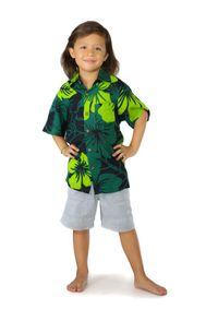 Shirt Casual Lavish Jungle Green and Black Button Down Short Sleeve Boys Beach Shirt