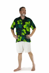Shirt Casual Lavish Jungle Green and Black Button Down Short Sleeve Mens Beach Shirt
