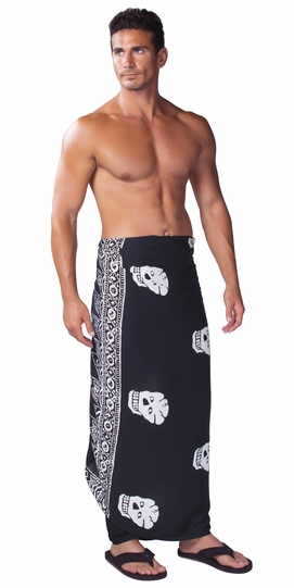 "Skull Mens Sarong ""Black and White"""