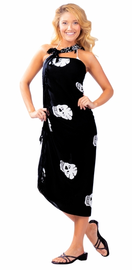 "Skull Sarong ""Black and White"""