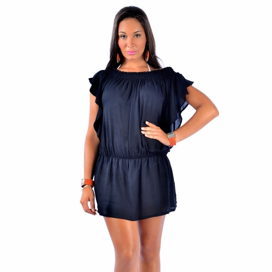Solid Black Cover-Up Short Dress - Final Sale - No Returns