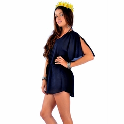 Solid Black Short Dress Cover-Up