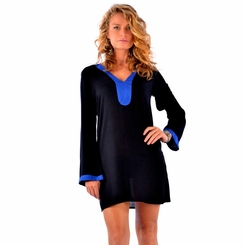 Solid Black Tunic Cover Up with Blue Trim - Final Sale - No Returns