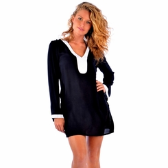 Solid Black Tunic Cover Up with White Trim - Final Sale - No Returns