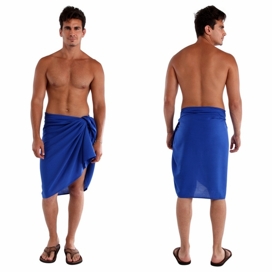 Solid Blue Mens Sarong FRINGELESS