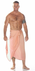 Solid Coral Mens Sarong FRINGELESS