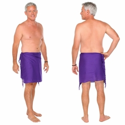Solid Half Mens Sarong in Purple