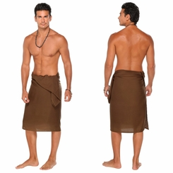 Solid Light Brown FRINGELESS Mens Sarong