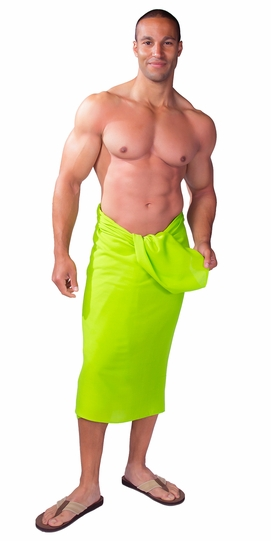Solid Lime Green FRINGELESS Mens Sarong