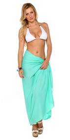 Solid Mint FRINGELESS Sarong