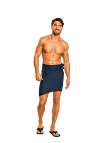 Sarong for Men, Solid Color Fringeless Sarong in Navy Blue Half Short Mini Sarong