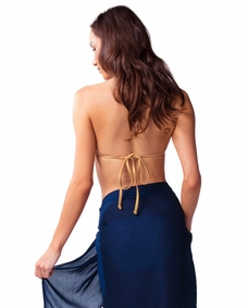 Solid Navy Blue FRINGELESS Half Sarong