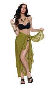 Solid Olive Green Sarong FRINGELESS