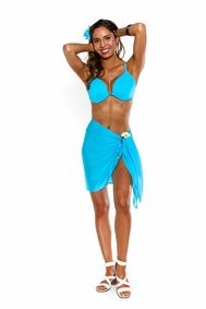 Solid Turquoise FRINGELESS Half Sarong