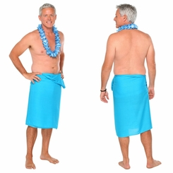 Solid Turquoise FRINGELESS Mens Sarong