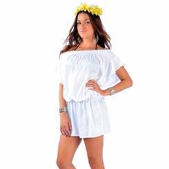 Solid White Cover-Up Short Dress - Final Sale - No Returns