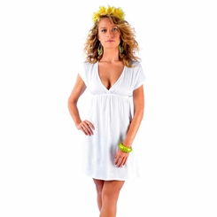 Solid White Deep V-Neck Cover-Up Short Dress - Final Sale - No Returns