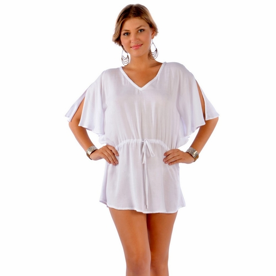 Solid White Short Dress Cover-Up