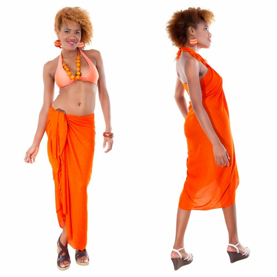 Spiral Abstract Sarong in Orange