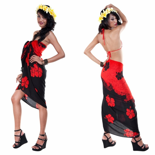 Split Color Hibiscus Flower Sarong in Red/Black - Call to Order