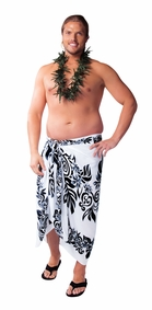 Tahitian Lei PLUS SIZE Mens Sarong in Black/White - Fringeless Sarong - Call to Order