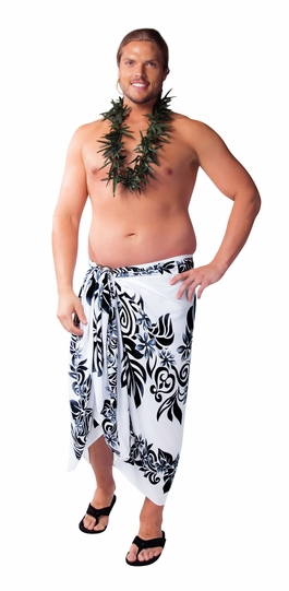 Tahitian Lei PLUS SIZE Mens Sarong in Black/White - Fringeless Sarong