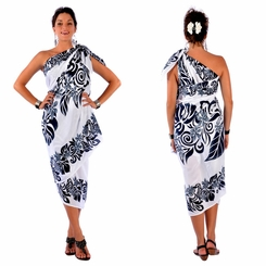 Tahitian Lei PLUS SIZE Sarong in Black/White - Fringeless Sarong