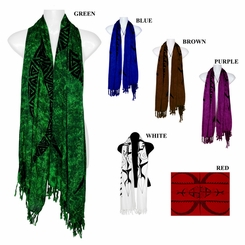 Tattoo Design Extra Wide Neck Scarf, Wrap or Shawl - in your choice of colors