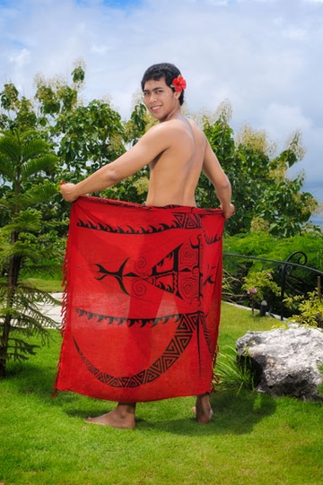 "Tattoo Mens Sarong ""Deep Red"""