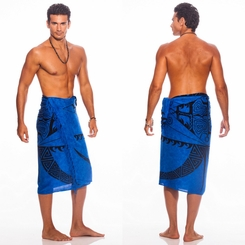 "Tattoo Mens Sarong ""Royal Blue"""