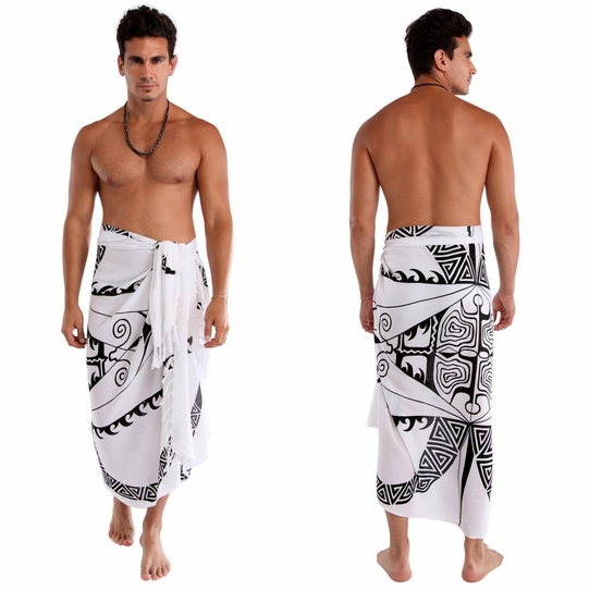 "Tattoo Mens Sarong ""White / Black"""