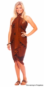 "Tattoo Sarong ""Tribal Batik"" Brown - Fringeless Sarong"