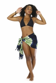 Tie Dye Half Sarong in Jungle Green