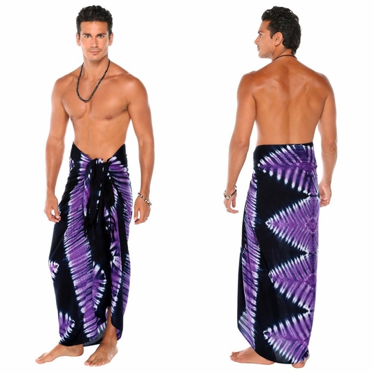 Tie Dye Mens Sarong in Jungle Purple