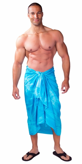Tie Dye Mens Sarong in Turquoise