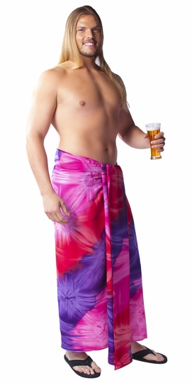 Tie Dye Plus Size Mens Sarong in Chakra Pink-Red-Purple FRINGELESS