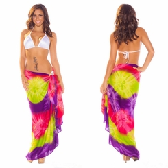 Tie Dye Sarong in Lime, Pink and Purple
