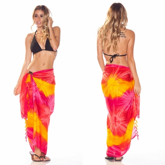 Tie Dye Sarong in Red, Pink and Yellow