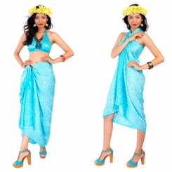 Tiny Hibiscus Floral Sarong in Turquoise