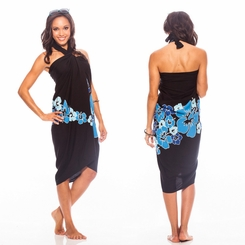 Top Quality Hawaiian Sarong in Blue Fringeless