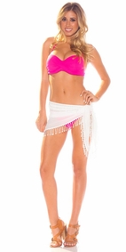 "Sheer Sarong Triangle Lace Tassel ""Vanilla Beach"" Cream"