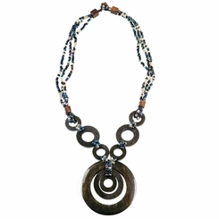 Triple Bead String Necklace with Triple Round Wooden Pendant in Black