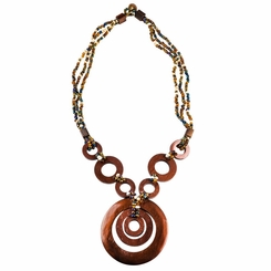 Triple Bead String Necklace with Triple Round Wooden Pendant in Brown