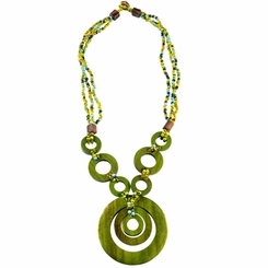 Triple Bead String Necklace with Triple Round Wooden Pendant in Green
