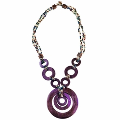 Triple Bead String Necklace with Triple Round Wooden Pendant in Purple