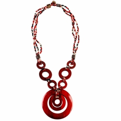 Triple Bead String Necklace with Triple Round Wooden Pendant in Red