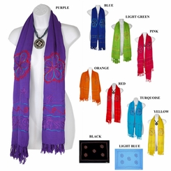 Triple Embroidered Design Plus Size Wide Scarf, Wrap or Shawl - in your choice of colors