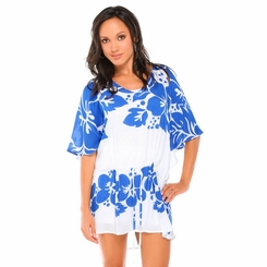Triple Lei Blue/White Cover-Up Short Dress - Final Sale - No Returns