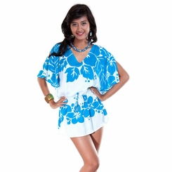 Triple Lei Turquoise/White Cover-Up Short Dress - Final Sale - No Returns